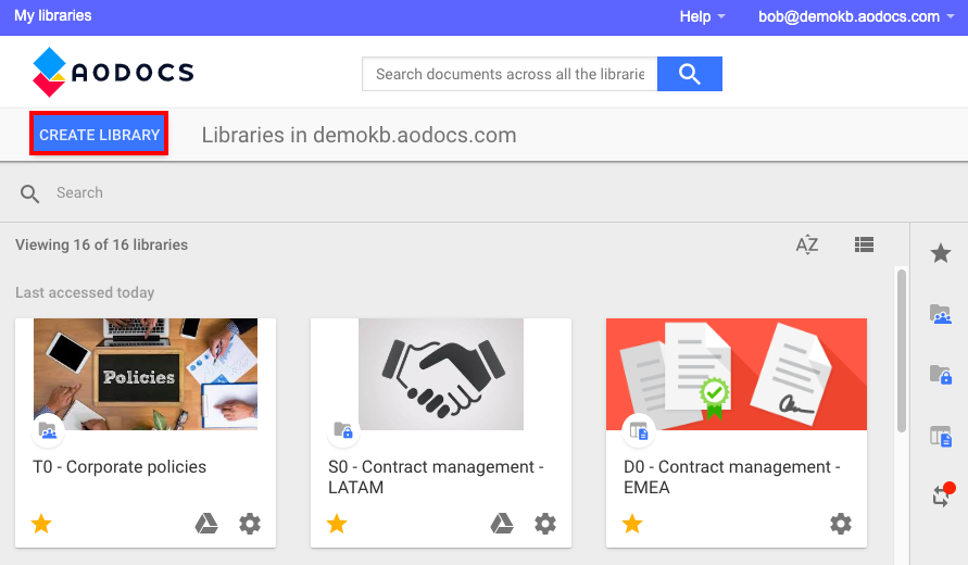 AODocs library homepage with Create library button highlighted