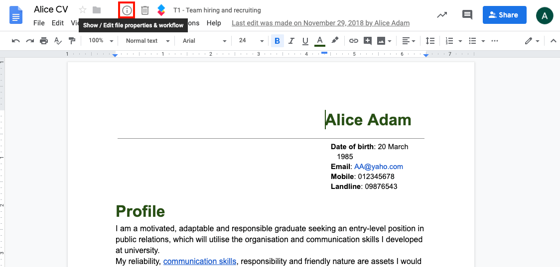 Display and edit file properties from Google Drive – AODocs