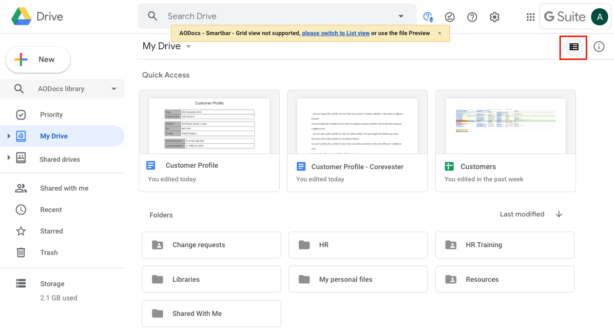 Switch from grid view to list view in Google Drive – AODocs