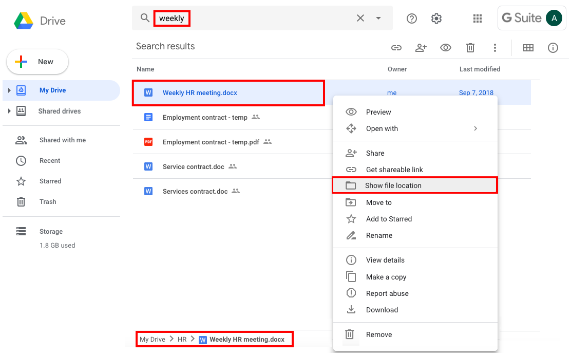 Locate your Google files in Google Drive – AODocs Knowledge Base